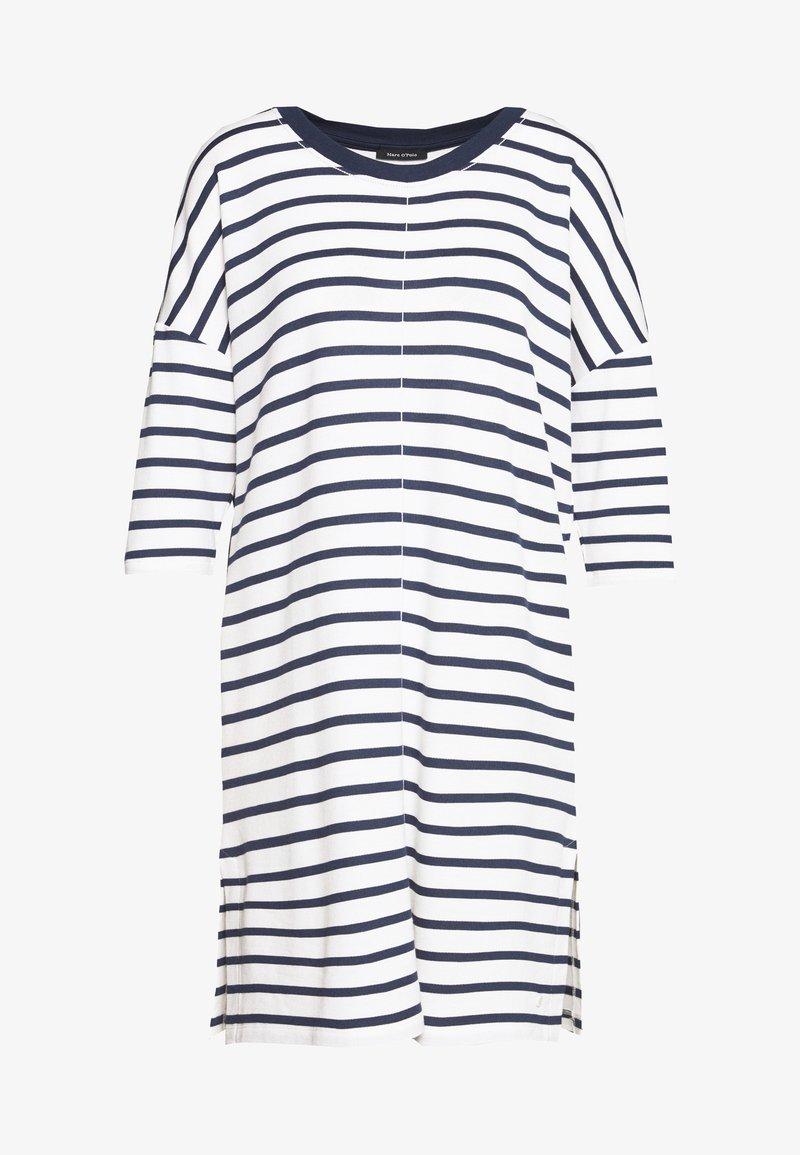 Marc O'Polo - DRESS 3/4 SLEEVE ROUND NECK STRIPED - Kjole - white