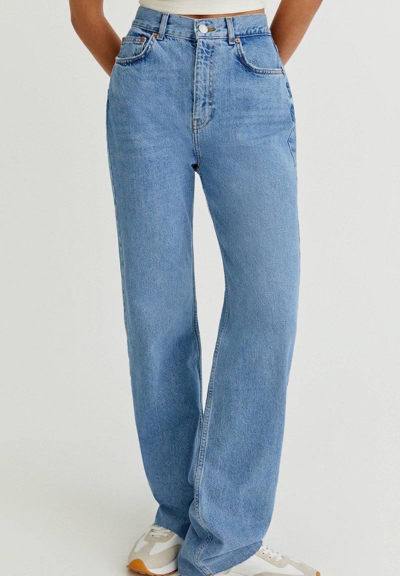 PULL&BEAR - HIGH WAIST - Straight leg -farkut - blue