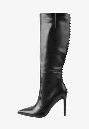 High heeled boots - mottled black