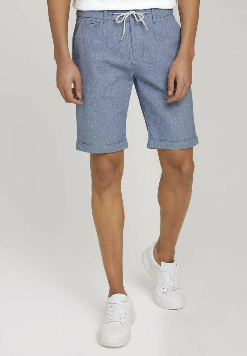 TOM TAILOR DENIM - Shorts - blue white dobby