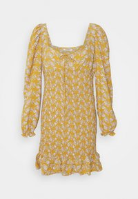 Glamorous - PUFF LONG SLEEVE SMOCKED MINI DRESS - Day dress - ochre - 4