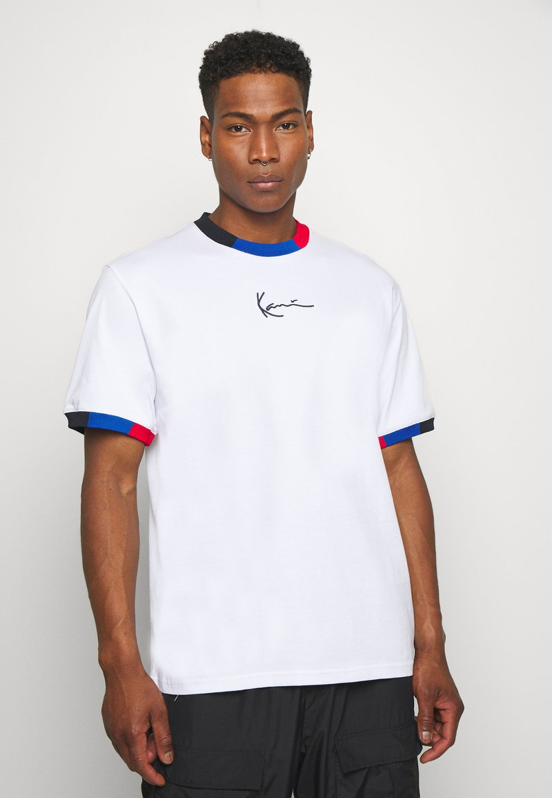 Karl Kani - SMALL SIGNATURE BLOCK TEE - Print T-shirt - white