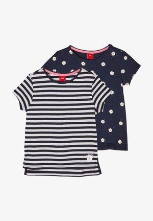 2 PACK - Print T-shirt - navy stripes  navy daisies