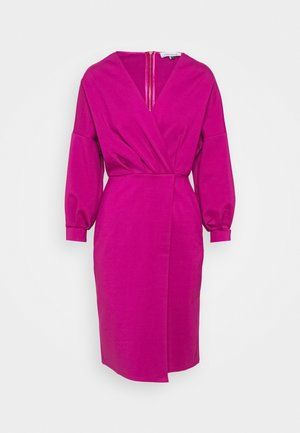 PLEATED WRAP PENCIL DRESS - Denní šaty - magenta