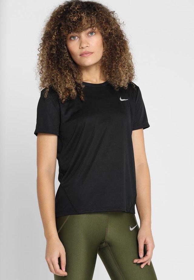 MILER - T-shirt print - black/silver