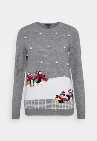 Dorothy Perkins - CHRISTMAS PENGUIN BOBBLE JUMPER - Jumper - grey marl - 3