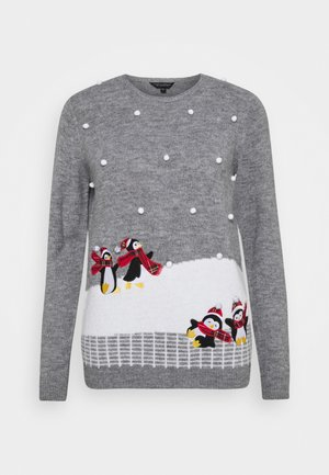 CHRISTMAS PENGUIN BOBBLE JUMPER - Neule - grey marl