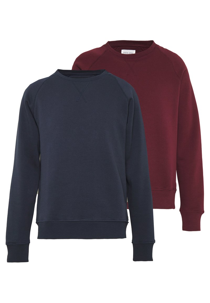 Pier One - 2 PACK - Sweatshirt - dark blue/bordeaux