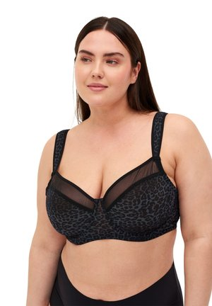 FREJA WITH PRINT AND MESH - Underwired bra - grey