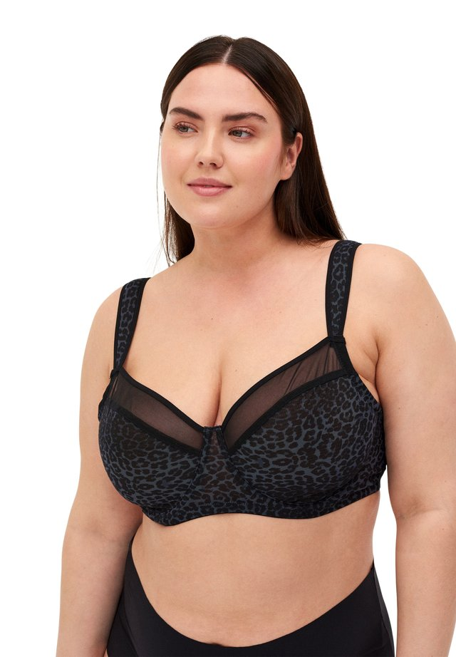 FREJA WITH PRINT AND MESH - Beugel BH - grey