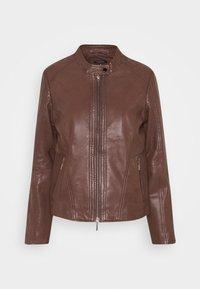 JACKET SHORT - Leather jacket - brown