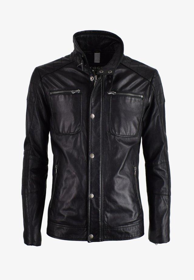 JAMES - Leather jacket - schwarz