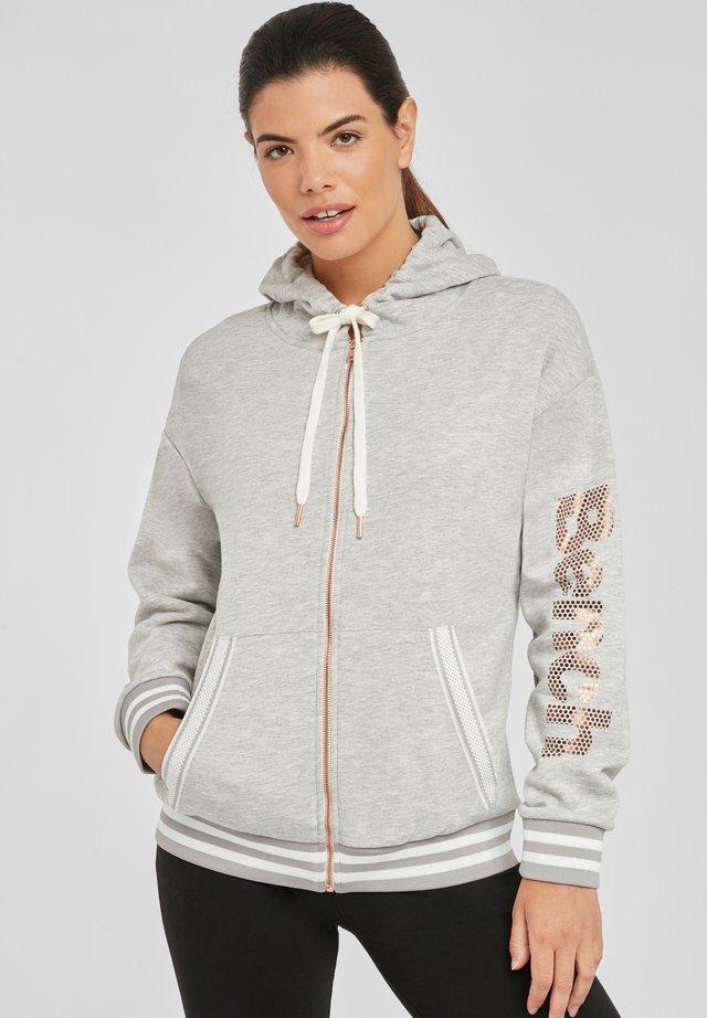 Zip-up hoodie - grau-meliert
