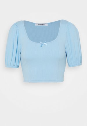 BOW FRONT SCOOP CROP WITH PUFF SHORT SLEEVES - Print T-shirt - baby blue