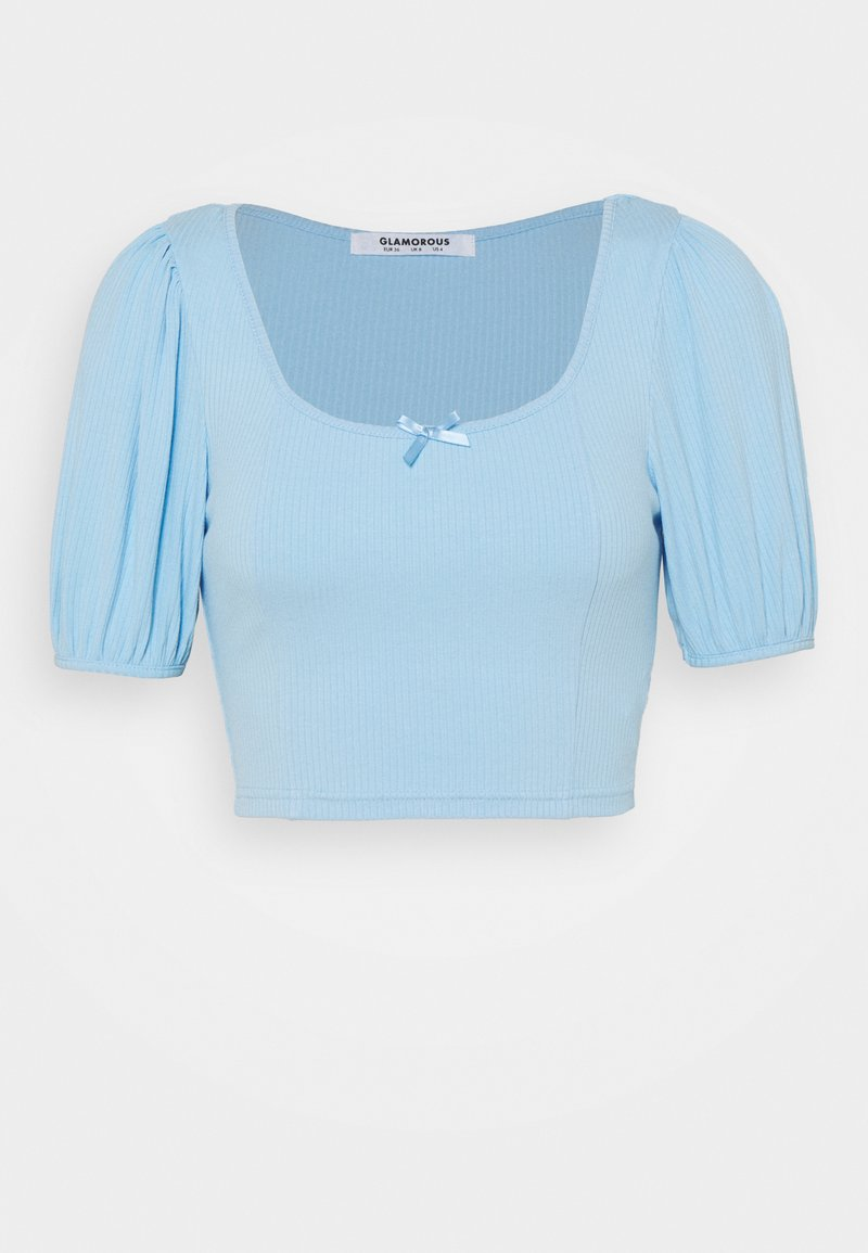 Glamorous - BOW FRONT SCOOP CROP WITH PUFF SHORT SLEEVES - Print T-shirt - baby blue