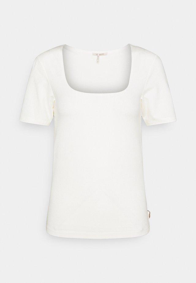 FITTED SQUARE NECK TEE - Jednoduché triko - ecru
