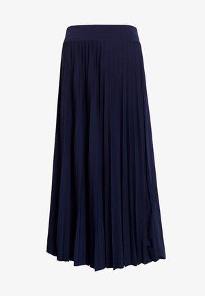 Plisse A-line midi skirt - A-line skirt - maritime blue