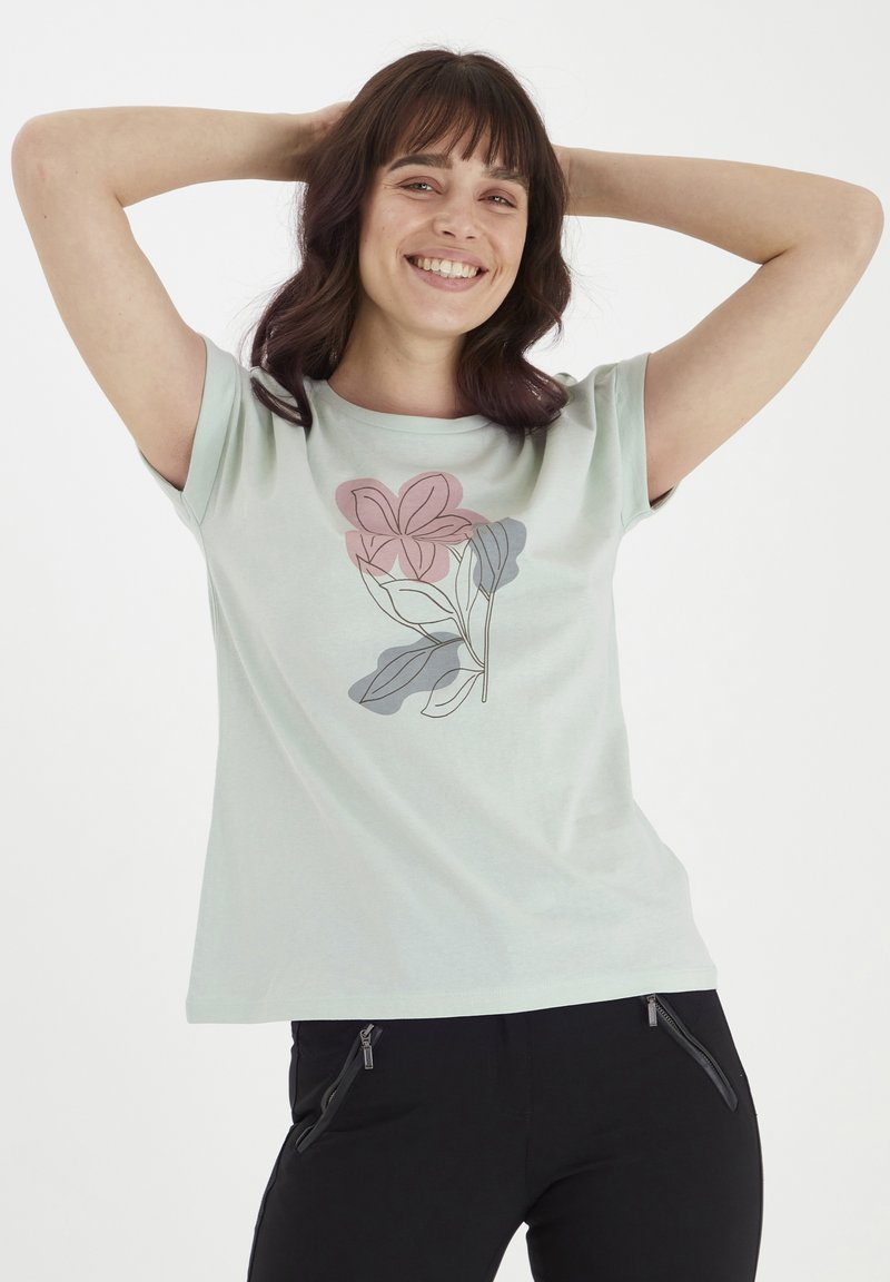 Fransa - MIT FLORALEM PRINT - Print T-shirt - aqua foam