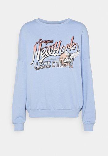 Printed Crew Neck Sweatshirt - Sweatshirt - blue