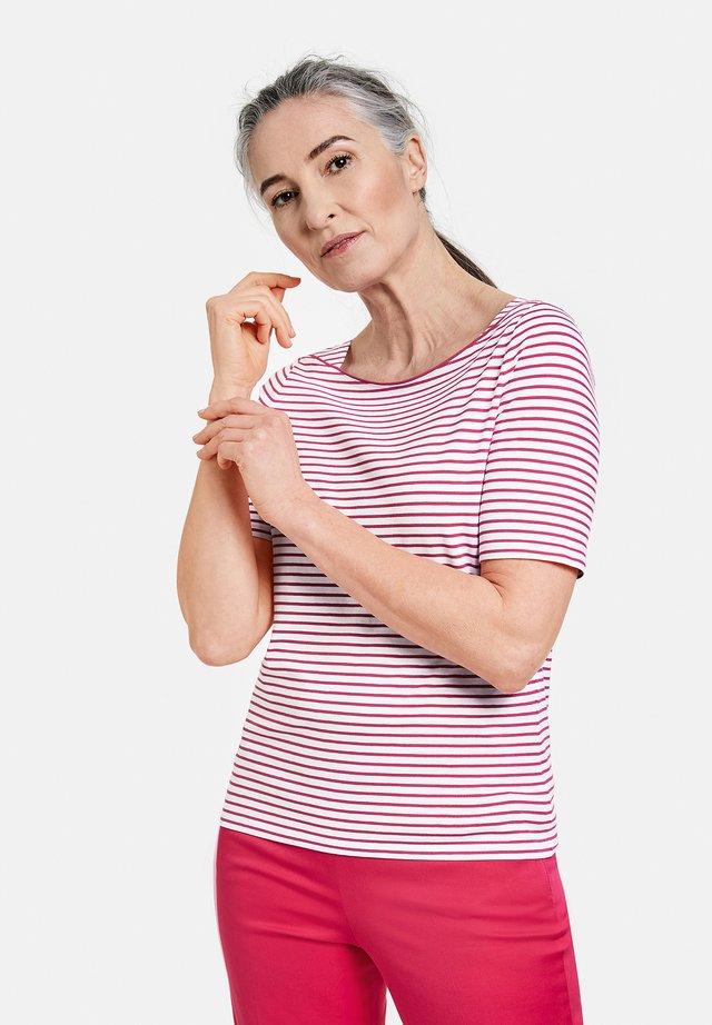 1/2 ARM - T-shirt print - ecru/weiss/lila/pink ringel