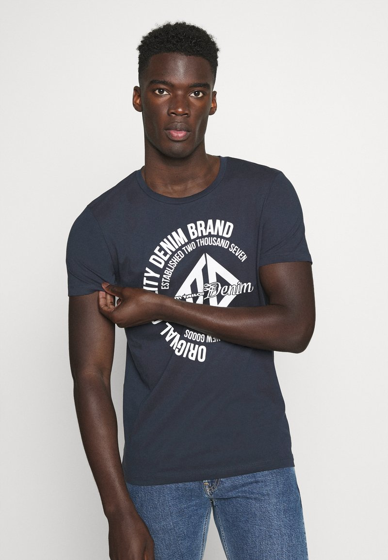 TOM TAILOR DENIM - WITH COINPRINT - T-shirt med print - sky captain blue
