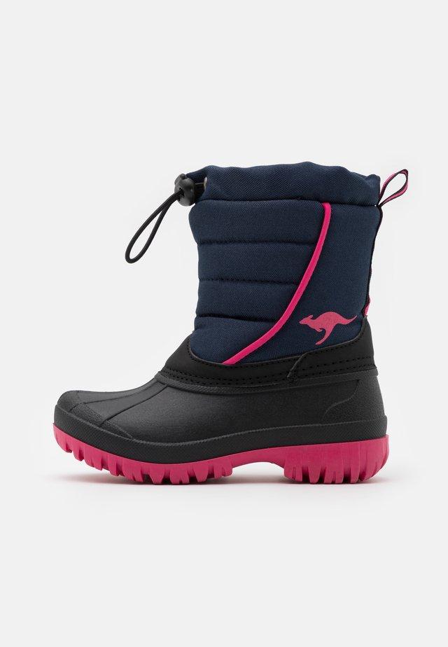 K-BEN - Snowboots  - dark navy/daisy pink