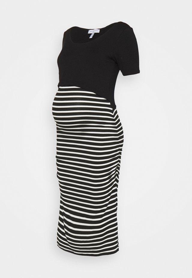 CAROLLE - Długa sukienka - black/off white stripes