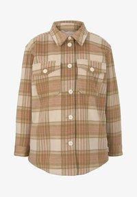 TOM TAILOR DENIM - CHECKED OVERSHIRT - Summer jacket - camel rose check - 4