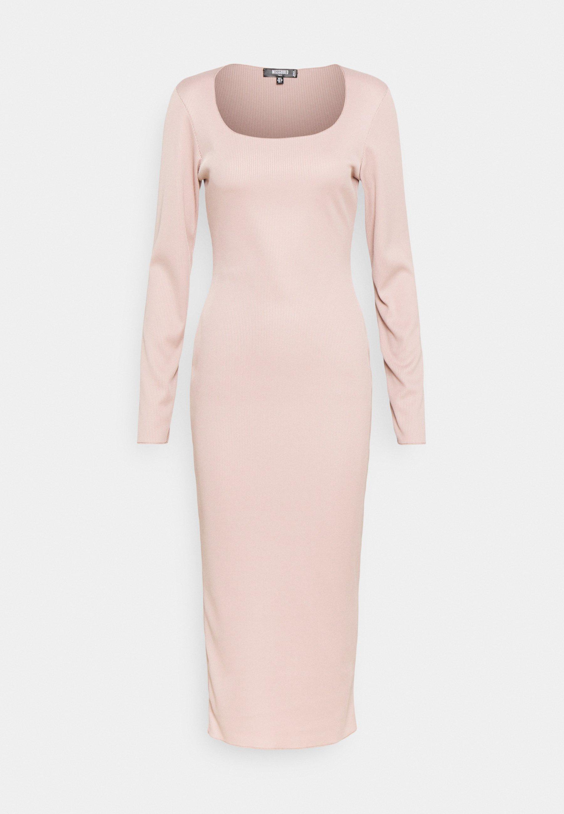 Women SQUARE NECK LONG SLEEVE MIDI DRESS - Shift dress