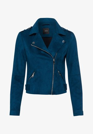 VELOURSLEDER-OPTIK - Faux leather jacket - ink petrol
