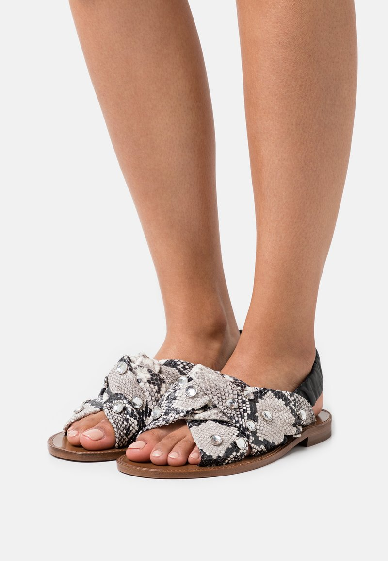Pinko - GLICINE  - Sandals - offwhite/nero