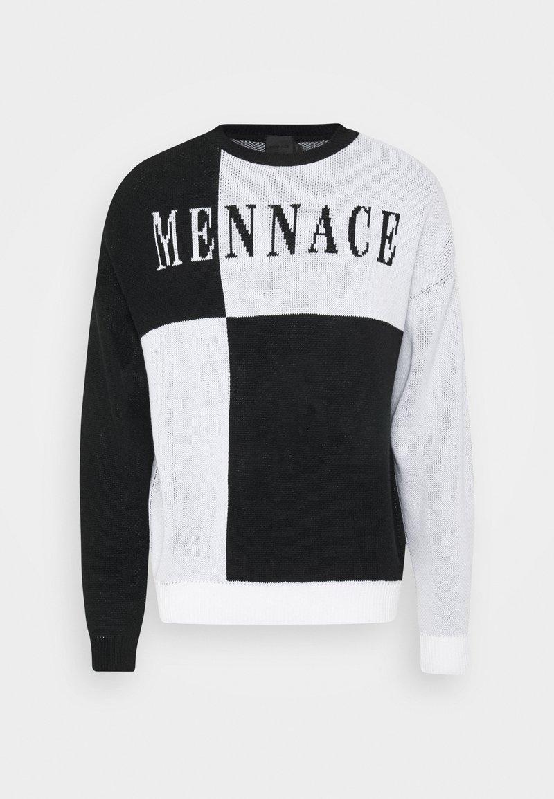 Mennace QUARTER PANEL GOTHIC TEXT CREW NECK - Strickpullover - black/schwarz 4X7G4n