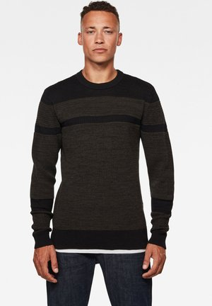 STRUCTURE STRIPE ROUND LONG SLEEVE - Jumper - dk black/asfalt