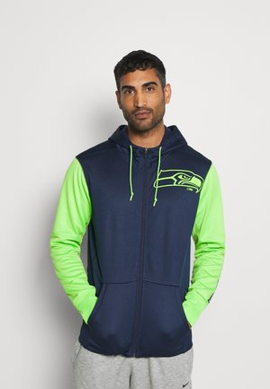 NFL SEATTLE SEAHAWKS LEFT CHEST MASCOT FULL-ZIP THERMA HOOD - Club wear - college navy/action green