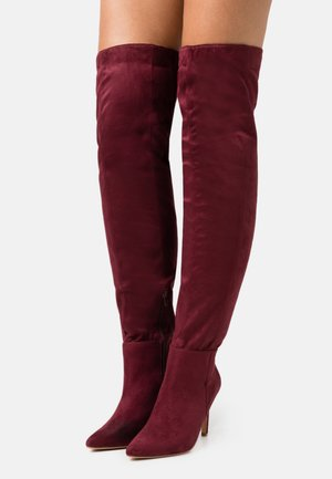 MID HEEL OVER THE KNEE BOOTS - Laarzen met hoge hak - brown