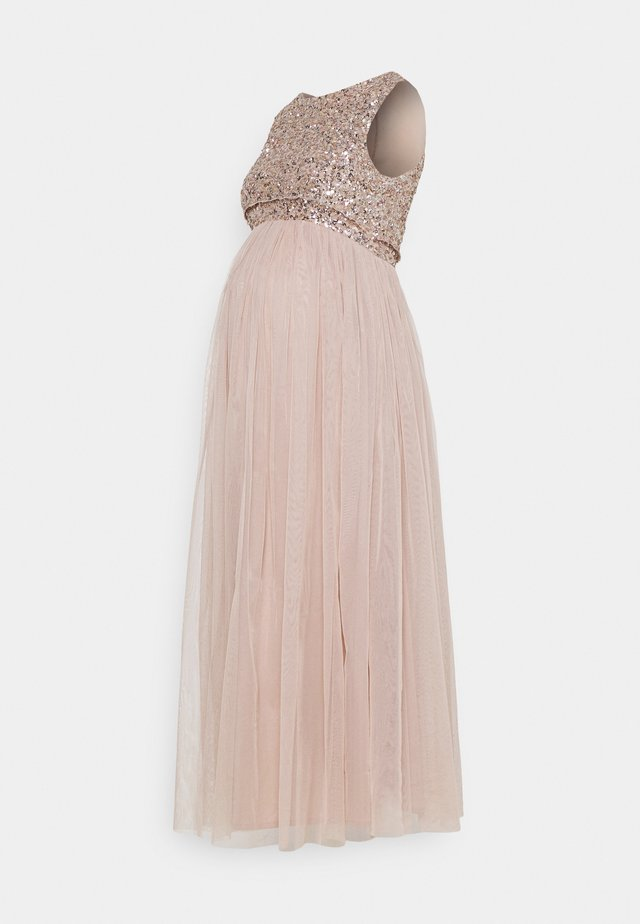 DELICATE GLITTER OVERLAY DRESS - Galajurk - taupe blush