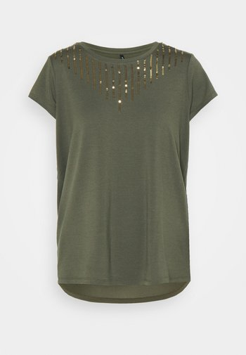 ONLBRIELLE GRACE BLING BOX - T-shirts med print - kalamata/gold