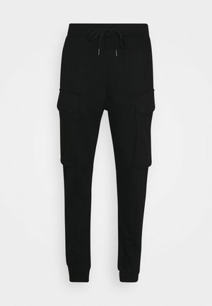 DRONER CARGO  - Tracksuit bottoms - heavy sherland sweat r ub - dk black