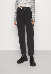Monki - ZAMI WASHED  - Straight leg -farkut - black dark - 0