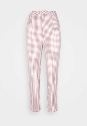 GINGHAM CIGARETTE TROUSER - Trousers - brown