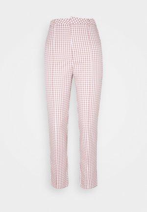 GINGHAM CIGARETTE TROUSER - Pantalon classique - brown