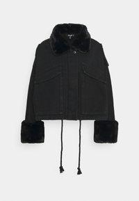 Missguided Petite - FUR COLLAR - Denim jacket - black - 0