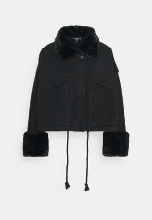 FUR COLLAR - Denim jacket - black
