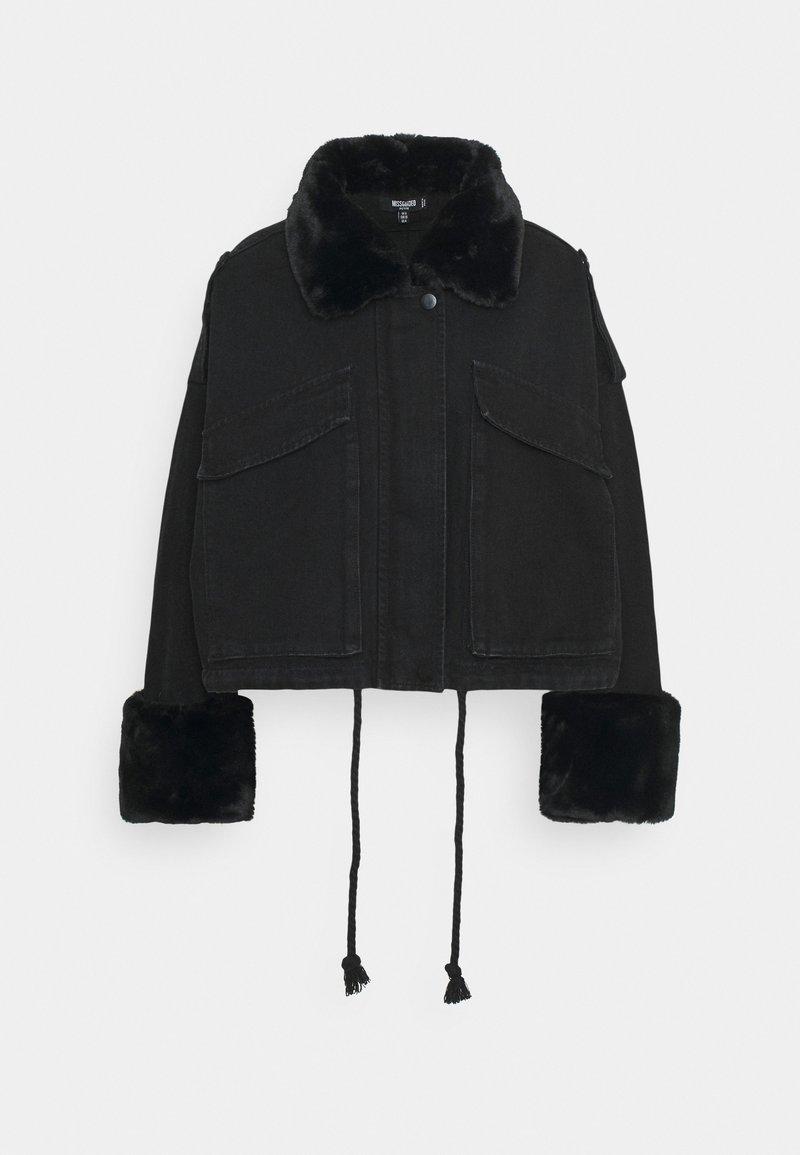 Missguided Petite - FUR COLLAR - Denim jacket - black
