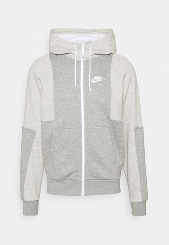 AIR HOODIE - Felpa con zip - grey heather/grey heather/white