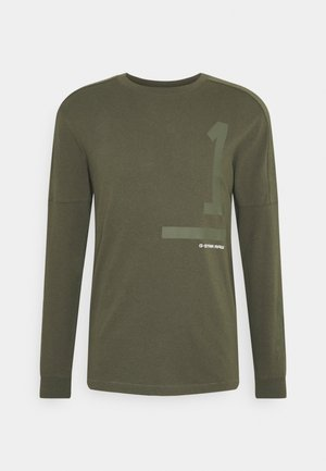 NUMBERS GRAPHIC - Long sleeved top - olive