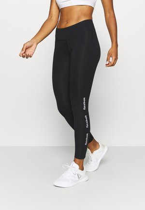 LINEAR LOGO LEGGING - Tights - black/black