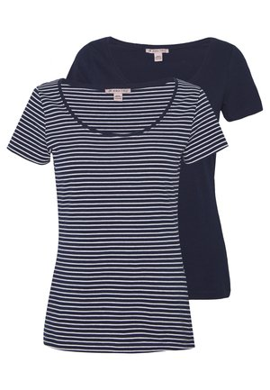 2 PACK - Camiseta estampada - navy/white