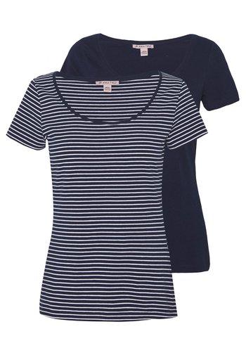 2 PACK - T-shirt z nadrukiem - navy/white