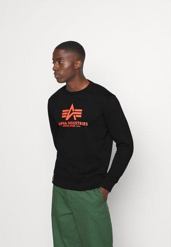 Basic Print - Mikina - black/neon orange